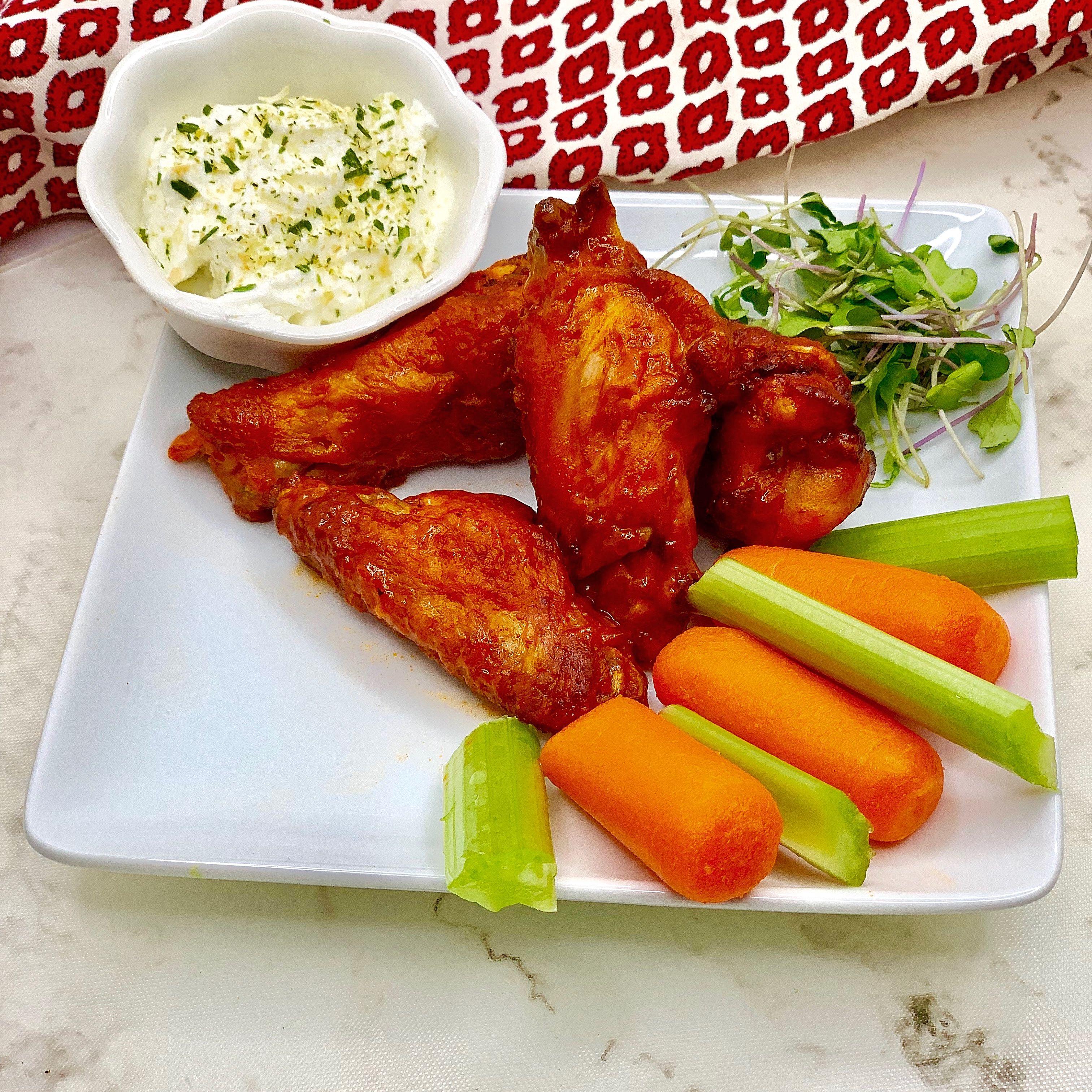 Air Fryer Chicken Wings With Yogurt Blue Cheese Dipping Sauce